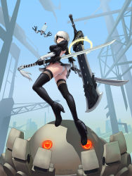 1girl 2017 artist_name ass back_opening bangs black_boots black_dress black_hairband black_legwear blindfold blue_sky boots breasts broadsword chains closed_mouth covered_eyes crane dated day dress drone dual_wielding floating full_body greatsword hair_over_one_eye hairband heart heart_eyes high_heel_boots high_heels highleg highleg_leotard highres holding holding_sword holding_weapon huge_weapon juliet_sleeves katana legs_apart leotard long_sleeves machinery medium_breasts midair nier_(series) nier_automata no_mole nose open-back_dress outdoors pink_lips pod_(nier_automata) puffy_sleeves robot short_dress short_hair shoulder_blades silver_hair skeletoner_blackshining sky solo sword tassel thigh_boots thighhighs vambraces weapon weapon_on_back white_leotard yorha_no._2_type_b