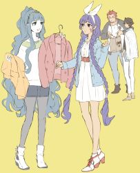 2boys 2girls ahoge beard black_hair braid brown_hair casual cleopatra_(fate/grand_order) dark_skin denim facial_hair facial_mark fate/grand_order fate/prototype fate/prototype:_fragments_of_blue_and_silver fate_(series) full_body isshoku_(shiki) jeans long_hair multiple_boys multiple_girls nitocris_(fate/grand_order) open_mouth pants pantyhose ponytail purple_eyes purple_hair red_hair rider_(fate/prototype_fragments) rider_(fate/zero) short_hair smile twin_braids very_long_hair yellow_eyes
