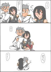 admiral_(kantai_collection) bare_shoulders black_hair blush cigarette comic grey_hair headgear kantai_collection long_hair military military_uniform nagato_(kantai_collection) naval_uniform ragau01 red_eyes traditional_media translation_request uniform