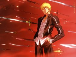 1boy absurdres black_jacket black_pants blonde_hair collarbone cowboy_shot dress_shirt fate/stay_night fate_(series) gilgamesh hands_in_pockets highres jacket official_art pants parted_lips polearm red_eyes shirt short_hair solo spear standing sword takeuchi_takashi weapon white_shirt