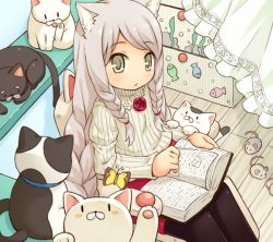 1girl animal_ears black_legwear blush book braid butterfly cat cat_ears cat_tail flower grey_hair long_hair looking_at_viewer mizuno_mumomo mouse open_book open_mouth original pantyhose ribbon rose sitting skirt solo sweater tail twin_braids yellow_eyes