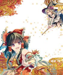 2girls apron armpits ascot autumn autumn_leaves bamboo_broom blonde_hair bow braid broom broom_riding brown_eyes brown_hair detached_sleeves dress flying hair_bow hair_tubes hakurei_reimu hat kirisame_marisa long_sleeves looking_at_viewer multiple_girls nontraditional_miko open_mouth riding rope shimenawa sidelocks smile socks touhou tree wide_sleeves witch_hat yellow_eyes zounose