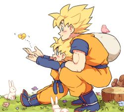 2boys aqua_eyes bird blush boots bunny butterfly dougi dragon_ball dragonball_z father_and_son flower flying grass happy kneeling long_sleeves looking_away male_focus multiple_boys nature open_mouth outstretched_hand sack short_hair simple_background smile son_gokuu son_goten spiked_hair squirrel super_saiyan tkgsize tree_stump white_background wristband