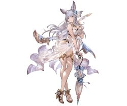 1girl animal_ears bare_shoulders blue_eyes bracelet breasts cleavage erun_(granblue_fantasy) flower full_body granblue_fantasy hair_flower hair_ornament high_heels holding jewelry korwa legs_crossed long_hair looking_at_viewer medium_breasts minaba_hideo nail_polish official_art parasol quill see-through silver_hair smile solo standing swimsuit transparent_background umbrella