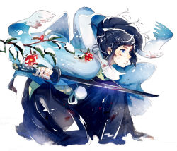 1boy black_hair blood bloody_clothes blue_eyes branch camellia_(flower) flower hakama haori houhou_(black_lack) injury japanese_clothes katana male_focus one_knee petals ponytail sandals scarf shinsengumi snow sword tabi touken_ranbu weapon yamato-no-kami_yasusada