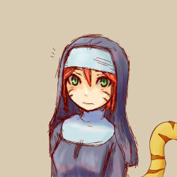 1girl breath_of_fire green_eyes looking_at_viewer nun orange_hair
