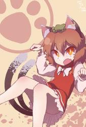 1girl animal_ears brown_hair cat_ears cat_paws cat_tail chen hat itsuki_(kisaragi) open_mouth orange_eyes paw_pose paws piercing sash short_hair solo tail touhou