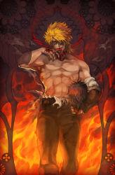 1boy blood dio_brando fire jojo_no_kimyou_na_bouken licking_hand oburaato severed_head shirtless solo thorns vines