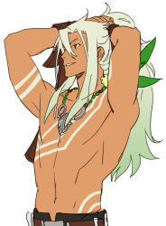 1boy adjusting_hair arms_up gradient_hair long_hair male_focus multicolored_hair navel ponytail red_eyes shirtless smile solo tales_of_(series) tales_of_zestiria tan tattoo tying_hair white_hair yarr zaveid_(tales)