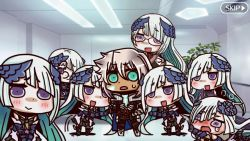 1boy armor blue_eyes blush chibi cosplay dark_skin dual_persona fake_screenshot fate/apocrypha fate/grand_order fate/prototype fate/prototype:_fragments_of_blue_and_silver fate_(series) glasses lancer_(fate/prototype_fragments) long_hair looking_at_viewer multiple_girls multiple_persona open_mouth riyo_(lyomsnpmp)_(style) saber_of_black shielder_(fate/grand_order) shielder_(fate/grand_order)_(cosplay) silver_hair smile tears you_gonna_get_raped