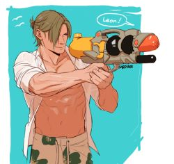 1boy blonde_hair leon_s_kennedy male_focus muscle resident_evil smile solo summer