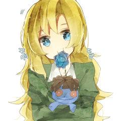 1girl blonde_hair blue_eyes blue_rose doll flower ib long_hair mary_(ib) mozuku-sora rose