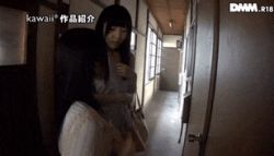 1boy 2girls animated animated_gif asian hallway multiple_girls photo purse