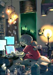 1girl bare_legs barefoot blinds bottle building cactus can carton city clipboard clock computer eto_(tokyo_ghoul) green_eyes green_hair indoors ishida_sui lamp long_hair messy messy_room monitor night night_sky open_window ponytail profile red_shirt shirt short_sleeves sitting sky skyscraper solo tissue tissue_box tokyo_ghoul window
