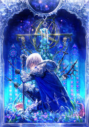 1boy 369minmin armor blue_eyes cape flower original rose short_hair silver_hair skull solo stained_glass sword weapon