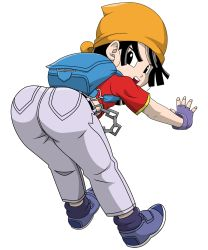 1girl ass backpack bandanna bent_over black_hair boots dragon_ball dragon_ball_gt female fingerless_gloves gloves highres hip_attack jeans jumping loli looking_back pan_(dragon_ball) pants short_hair solo t-shirt vector white_background