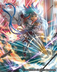 1boy armor armored_boots arrow blue_hair boots cape cardfight!!_vanguard company_name dark_skin dark_skinned_male electricity full_body gloves green_eyes headband knight_of_honesty_carausius long_hair male_focus moreshan multicolored_hair official_art open_mouth red_hair solo teeth two-tone_hair