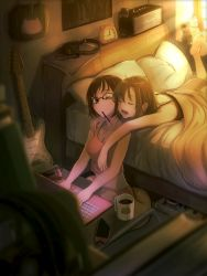 amplifier bag bangs bare_shoulders barefoot bed bedroom blurry box brand_name_imitation breasts brown_hair camisole casino_(pixiv468133) cellphone cleavage clock coffee coffee_mug commentary_request computer couple crop_top cup depth_of_field eyes_closed glasses green_eyes guitar headphones highres hug hug_from_behind idolmaster idolmaster_cinderella_girls indoors instrument laptop light_particles lying maekawa_miku midriff morning mouth_hold mug multiple_girls on_stomach one_eye_closed open_mouth phone pillow pocky poster_(object) short_hair sitting sleepwear sleepy smartphone soles stuffed_animal stuffed_cat stuffed_toy sunlight table tada_riina tank_top under_covers wince window yawning yuri