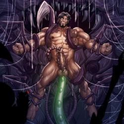 1boy abs anal bara brown_hair cum erection facial_hair lifting male_focus monster muscle nipples nude pecs penetration penis restrained slime starcraft teeth tentacle testicles wince zelo-lee