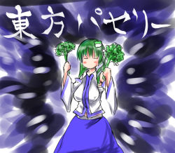 1girl breasts detached_sleeves erect_nipples eyes_closed frog green_hair holding kochiya_sanae koro(cookie) medium_breasts solo touhou