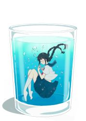 1girl absurdres air_bubble bangs black_hair blue_skirt blunt_bangs braid bubble eyes_closed from_side glass hands_up highres kneehighs long_hair original plantar_flexion pleated_skirt school_uniform serafuku skirt solo submerged twin_braids usamochi_(7290381) water white_legwear