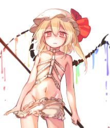 1girl bare_shoulders belt blonde_hair bloomers collarbone cowboy_shot fangs flandre_scarlet hair_between_eyes harness hat hat_ribbon highres laevatein looking_at_viewer mob_cap navel parted_lips red_eyes red_ribbon ribbon simple_background sketch slit_pupils solo standing tis_(shan0x0shan) touhou underwear white_background wings