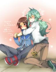 2boys child luck312 male_focus multiple_boys n_(pokemon) pokemon touya_(pokemon) translation_request trap yaoi