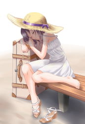 1girl bare_shoulders barefoot bench black_hair dress eyes_closed hat hat_ribbon highres legs ribbon sandals shoes_removed short_hair single_shoe sitting sleeping solo straw_hat suitcase