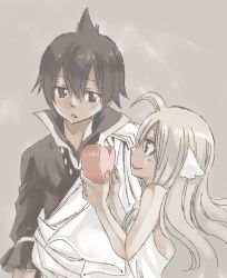 1boy 1girl black_hair blonde_hair fairy_tail mashima_hiro mavis_vermilion official_art smile valentine zeref