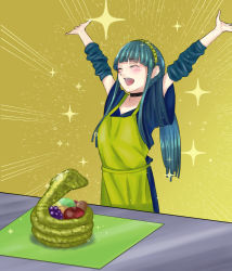 1girl apple apron blue_hair blush breasts choker cleopatra_(fate/grand_order) detached_sleeves eyes_closed fate/grand_order fate_(series) grapes hairband jewelry long_hair open_mouth snake sparkle yellow_background