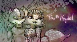 1boy 1girl fox_mccloud hair krystal nintendo star_fox tail text