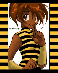 1girl bee_costume border brown_eyes brown_hair bumble_bee character_name dark_skin dc_comics female karen_beecher looking_at_viewer sleeveless smile solo striped_background striped_shirt transparent_background turtleneck two-tone_stripes v vambraces