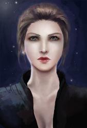 1girl angela_miller blue_eyes brown_hair lips realistic resident_evil solo upper_body