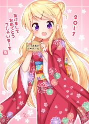 2017 :d bangs blonde_hair blush cherry_blossoms ema eyebrows_visible_through_hair floral_background floral_print furisode hair_ornament hairclip highres holding japanese_clothes kimono kin-iro_mosaic kujou_karen long_hair minato_(ojitan_gozaru) new_year number obi open_mouth outline pink_background purple_eyes sash silhouette smile swept_bangs translated very_long_hair