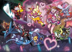 1boy 2girls altaria cosplay dragon fangs haruka_(pokemon) monster multiple_girls nintendo official_art pikachu pokemon pokemon_oras salamence wings