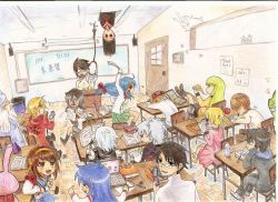 6+boys 6+girls apple black_hair bleach blonde_hair blue_hair book brown_hair c.c. chidori_kaname classroom code_geass crossover darker_than_black death_note door edward_elric enma_ai food fruit full_metal_panic! fullmetal_alchemist gintama glasses green_hair itoshiki_nozomu izumi_konata japanese_clothes jigoku_shoujo kill_me_baby kuchiki_rukia long_hair lucky_star merlin multiple_boys multiple_girls okita_sougo pen pizza purple_hair sayonara_zetsubou_sensei short_hair silver_hair sleeping sonya_(kill_me_baby) suzumiya_haruhi suzumiya_haruhi_no_yuuutsu tagme tonari_no_totoro totoro watanuki_kimihiro white_hair wizard xxxholic yagami_light yin