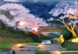 bridge cherry_blossoms grass no_humans rock sbc still_life water waterfall