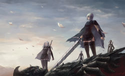 4girls artist_request cape character_request clare_(claymore) claymore claymore_(sword) garter_straps leather_skirt long_hair multiple_girls number short_hair silver_hair sword thighhighs weapon