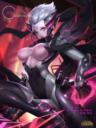1girl alternate_costume alternate_hair_color alternate_hairstyle bodysuit breast_cutout breasts citemer cyborg fiora_laurent grey_hair league_of_legends looking_at_viewer power_armor solo