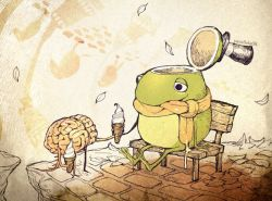 artist_name bench brain drooling frog ice_cream ice_cream_cone leaves no_humans original parallela66 sitting tongue top_hat