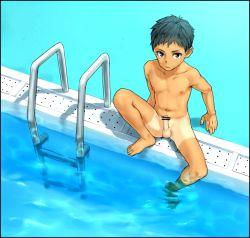 1boy erection fujimodoki male_focus nude original outdoors penis pool shorts_tan shota solo tan tanline testicles undressing water young