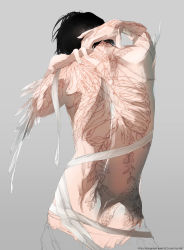 1boy back bandage black_hair feathers from_behind grey_background leaves male_focus original partially_colored re_degrees_(red_flagship) ribs shirtless simple_background snake solo tattoo upper_body web_address