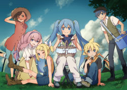 2boys 4girls alternate_costume alternate_hairstyle bandanna blonde_hair blue_eyes blue_hair boots bow braid brown_hair cabbie_hat chair cloud cooler cowboy_boots denim eating fence food grass hair_bow hair_ornament hair_ribbon hairband hairclip hand_on_own_head hat hatsune_miku issindotai jeans kagamine_len kagamine_rin kaito long_hair looking_at_viewer megurine_luka meiko multiple_boys multiple_girls onigiri open_mouth overalls pants picnic picnic_basket pink_hair purple_eyes red_shirt ribbon sandwich short_hair short_ponytail single_braid sitting skirt sky smile standing standing_on_one_leg straw_hat tree twintails vest vocaloid