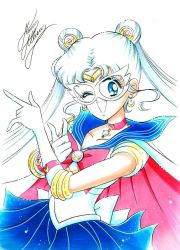 1girl ;d \m/ bishoujo_senshi_sailor_moon blue_eyes blue_skirt bow brooch cape choker cowboy_shot crescent crescent_earrings double_bun earrings elbow_gloves gloves hair_ornament hairpin jewelry long_hair magical_girl marco_albiero marker_(medium) mask one_eye_closed open_mouth pleated_skirt red_bow sailor_collar sailor_moon signature skirt smile solo tiara traditional_media tsuki_ni_kawatte_oshioki_yo tsukino_usagi twintails white_background white_bow white_gloves white_hair