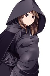 1girl arms_behind_back blush breasts brown_eyes brown_hair cloak cowboy_shot cross cross_necklace erect_nipples expressionless eyelashes highres hood hooded_cloak jewelry looking_at_viewer matsunaga_kouyou necklace nun original parted_lips small_breasts solo standing