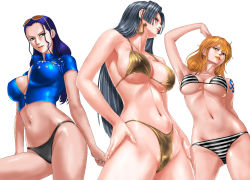 3girls arm_tattoo arm_up armpits arms_at_sides bangs bikini black_bikini black_hair blue_hair blue_shirt boa_hancock breasts brown_eyes crop_top earrings erect_nipples eyelashes from_below green_eyes hair_slicked_back hands_on_own_thighs highres jewelry large_breasts long_hair looking_at_viewer looking_down looking_to_the_side multiple_girls nami_(one_piece) navel nico_robin one_piece orange_hair orange_lips parted_lips shirt short_sleeves sideboob simple_background skin_tight snake stomach strap_gap striped striped_bikini sunglasses sunglasses_on_head swept_bangs swimsuit tattoo toten_(artist) underboob white_background yellow_bikini zipper