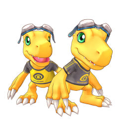 3d agumon aiba_ami_(cosplay) aiba_takumi_(cosplay) black_shirt cel_shading claws clothes_writing creature digimon digimon_story:_cyber_sleuth game_model goggles goggles_on_head green_eyes official_art open_mouth print_shirt raglan_sleeves simple_background teeth tongue yellow_shirt