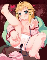1girl :q anal anal_object_insertion barefoot black_bullet blonde_hair cum facial green_eyes hair_ornament hairclip heart highres leg_up loli looking_at_viewer nipples object_insertion off_shoulder open_clothes open_shirt pajamas panties pants_removed shirt smile solo spread_legs tagme tina_sprout tongue tongue_out ujiie_moku underwear vibrator