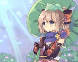1girl blue_eyes blush brown_hair choujigen_game_neptune female frog highres lily_pad long_hair neptune_(series) nomalandnomal rain ram_(choujigen_game_neptune) solo water