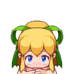 animated animated_gif blonde_hair blue_eyes capcom censored cum cum_in_mouth deepthroat facial fellatio flat_chest hair_ribbon handjob loli looking_at_viewer lowres nude open_mouth oral payot penis pixel_art ribbon rockman rockman_(classic) roll sb smile